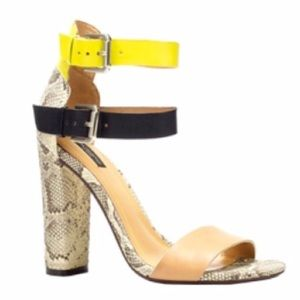 Zara RARE blogger Snakeskin Chunky Heels 8 Neon